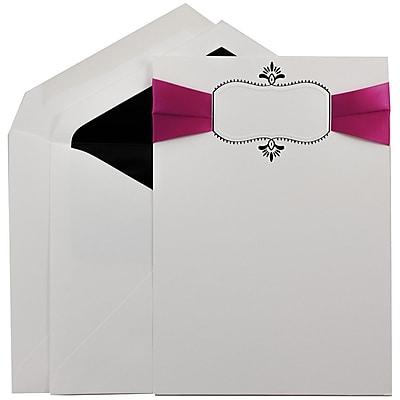 JAM Paper® Wedding Invitation Set, Large, 5.5 x 7.75, White, Hot Pink Ribbon, Black Oval, Black Lined Env, 50/pack (5268274BRB)