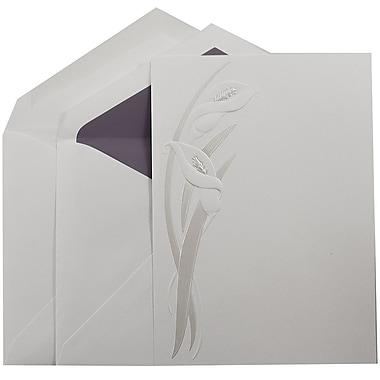JAM PaperMD – Invitations mariage, grand, 5,5 x 7,75 po, blanc, lilas perlés et enveloppes avec ligne violet passion, 50/paquet