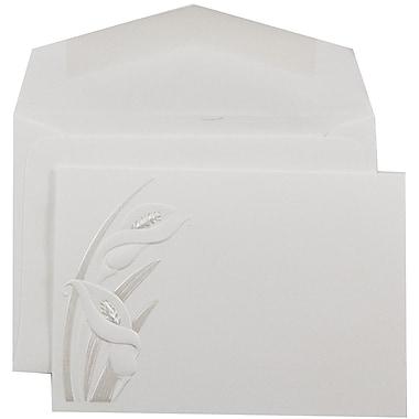 JAM PaperMD – Invitations mariage, petit, 3 3/8 x 4 3/4 po, blanc avec lilas calla perlés et enveloppe blanche, 100/paquet