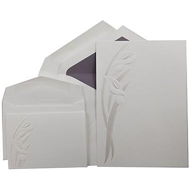 JAM PaperMD – Ensembles d'invitations mariage, 1 petit et 1 grand, blanc avec lilas calla perlés avec enveloppes, 150/paquet