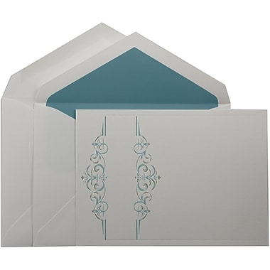 JAM PaperMD – Invitations mariage, grand, 5,5 x 7,75 po, blanc, vigne turquoise et enveloppes avec ligne turquoise, 50/paquet