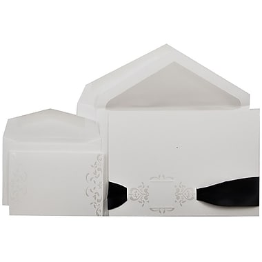 JAM Paper® Wedding Invitation Combo Sets, 1 Small and 1 Large, White with Pearl Square Design with Envelopes, 150/Pack