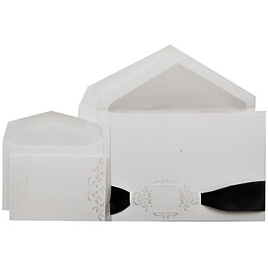 JAM PaperMD – Ensembles d'invitations pour mariage, 1 petit et 1 grand, blanc avec carrés en perles avec enveloppes, 150/paquet