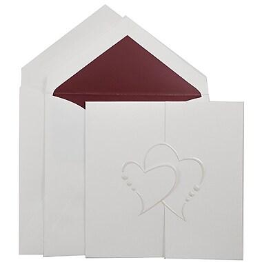 JAM PaperMD – Invitations mariage, grand carré, 5,5 x 5,5 po, blanc, cœurs en perles et enveloppes avec ligne rouge, 50/paquet