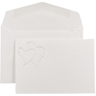 JAM PaperMD – Invitation Quinceanera, petit, 3 3/8 x 4 3/4 po, blanc, cœurs en perles, enveloppes blanches, 100/paquet