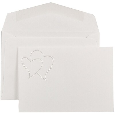 JAM Paper® Wedding Invitation Set, Small, 3 3/8 x 4 3/4, White Cards, Pearl Hearts Design, White Envelopes, 100/pack (52697610)
