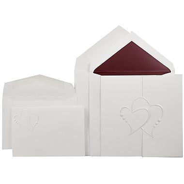 JAM PaperMD – ensemble combo d'invitations pour mariage, petit et grand, blanc, cœurs en perles, enveloppes rouges, 150/paquet