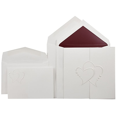 JAM Paper® Wedding Invitation Combo Sets, 1 Sm 1 Lg, White Cards, Pearl Hearts Design, Red Lined Envelopes, 150/pack (5265761RC)