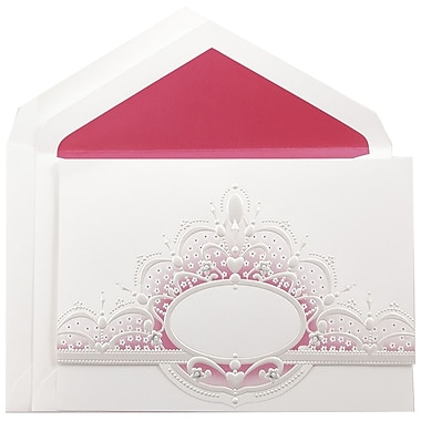 JAM PaperMD – Ensemble de faire-part de mariage, grand, blanc, couronne ovale rose, enveloppe doublée rose vif, 5,5x7,75, 50/pqt