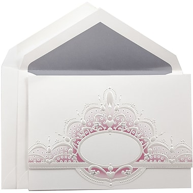 JAM Paper® Wedding Invitation Set, Large, 5.5 x 7.75, White with Pink Crown Oval Design with Periwinkle Envelopes, 50/Pack
