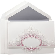JAM Paper® Wedding Invitation Set, Large, 5.5 x 7.75, White, Pink Crown Oval Design, Periwinkle Lined Env, 50/pack (5268201PW)