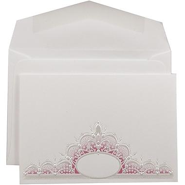 JAM PaperMD – Ensemble de faire-part de mariage, petit, blanc, couronne ovale rose, enveloppes blanches, 3 3/8 x 4 3/4, 100/pqt