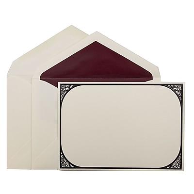 JAM Paper® Wedding Invitation Set, Large, 5.5x7.75, Ecru Card, Black Swirl Border Design, Burgundy Lined Env, 50/pk (5269777BG)