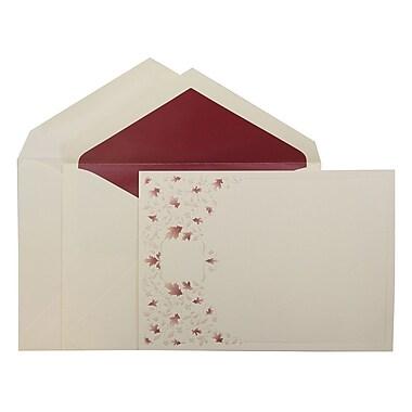 JAM PaperMD – Ensemble de faire-part de mariage, grand, 5,5x7,75 po, carte écrue, vigne à feuille rouge, enveloppe rouge, 50/pqt