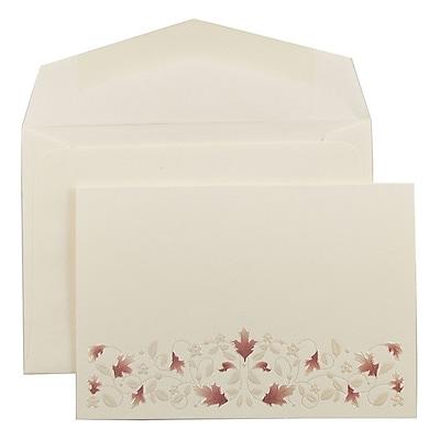JAM Paper® Wedding Invitation Set, Small, 3 3/8 x 4 3/4, Ecru with Red Leaf Vine Design with Ecru Envelopes, 100/pack (52691020)
