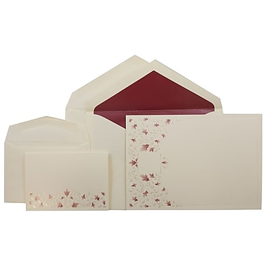 JAM PaperMD – Ensemble de faire-part de mariage, 1petit/1grand, écru, motif de vigne à feuilles rouges, enveloppe rouge, 150/pqt