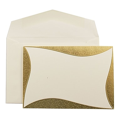 JAM PaperMD – Ensemble de faire-part de mariage, petit, 3 3/8 x 4 3/4 po, écru, bord courbé et doré, enveloppes écrues, 100/pqt