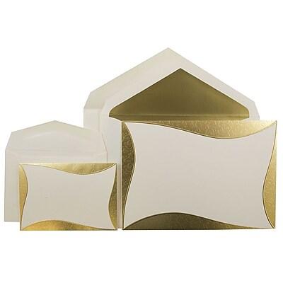 JAM Paper® Wedding Invitation Combo Sets, 1 Sm 1 Lg, Ecru, Gold Curve Border Design, Gold Lined Envelopes, 150/pk (5268112GOCO)