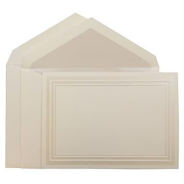 JAM Paper® Wedding Invitation Set, Large, 5.5 x 7.75, Ecru Card with Pearl Border Design with Pearl Envelopes, 50/Pack