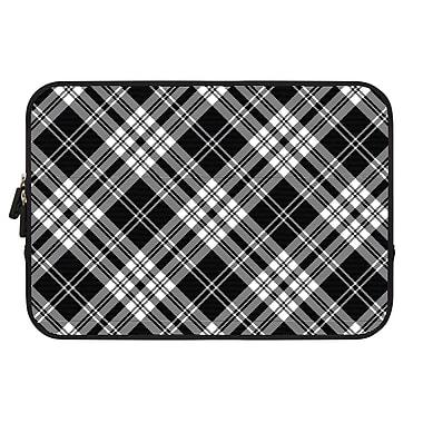 Uncommon – Étui en néoprène pour MacBook de 12 po, tartan contrastant noir et blanc