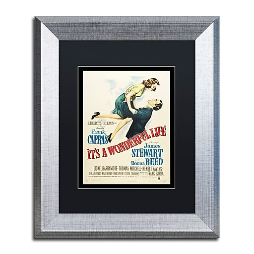 "Trademark Fine Art ''It's a Wonderful Life'' by Vintage Apple Collection 11"" x 14"" Black Matted Silver Frame (886511837621)"