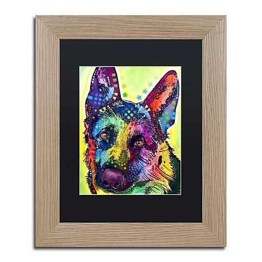 """Trademark Fine Art ''German Shepherd'' by Dean Russo 11"""" x 14"""" Black Matted Wood Frame (886511837829)"""