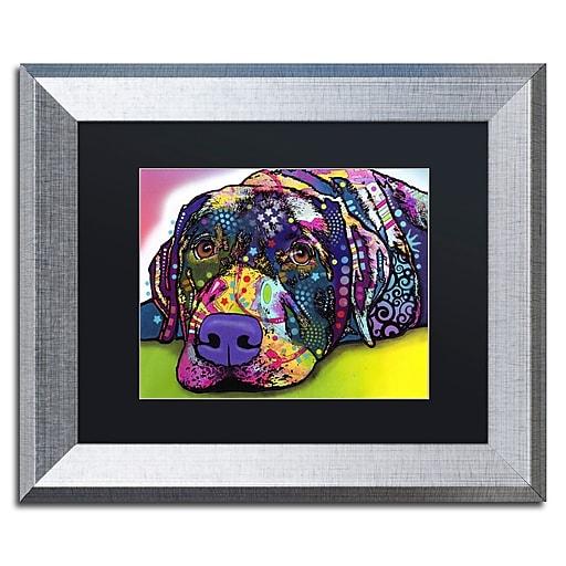 "Trademark Fine Art ''Savvy Labrador'' by Dean Russo 11"" x 14"" Black Matted Silver Frame (886511837867)"