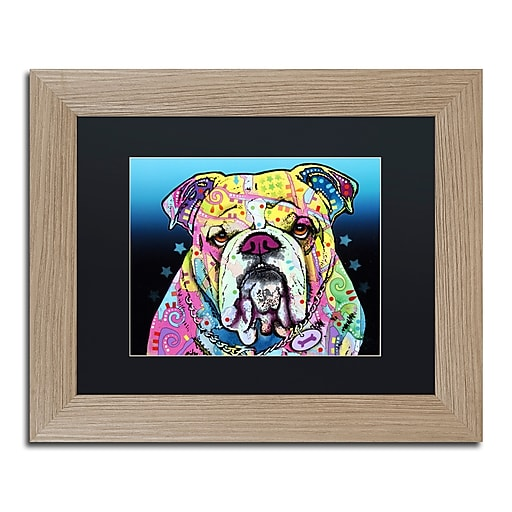 """Trademark Fine Art ''The Bulldog'' by Dean Russo 11"""" x 14"""" Black Matted Wood Frame (886511837980)"""