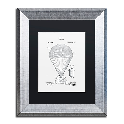 """Trademark Fine Art ''Airship Patent 1913 White'' by Claire Doherty 11"""" x 14"""" Black Matted Silver Frame (886511841284)"""
