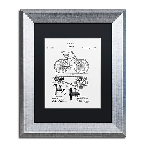 """Trademark Fine Art ''Bicycle Patent 1890 White'' by Claire Doherty 11"""" x 14"""" Black Matted Silver Frame (886511841840)"""
