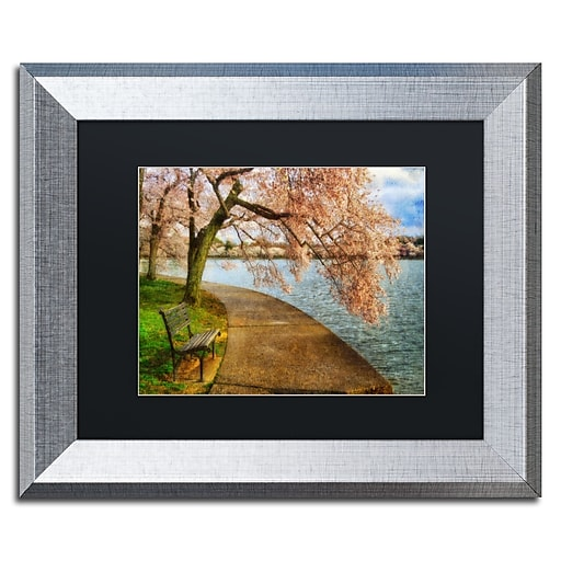"""Trademark Fine Art ''Meet Me At Our Bench'' by Lois Bryan 11"""" x 14"""" Black Matted Silver Frame (886511842724)"""