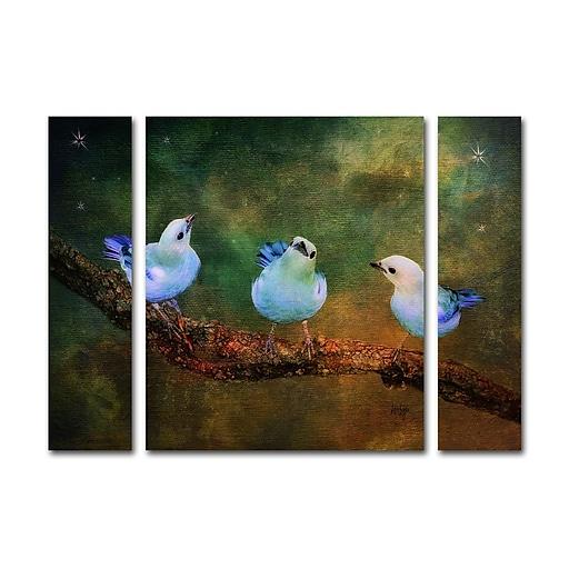 "Trademark Fine Art ''Three Little Blue Birds'' by Lois Bryan 24"" x 32"" Multi Panel Art Set (886511916814)"