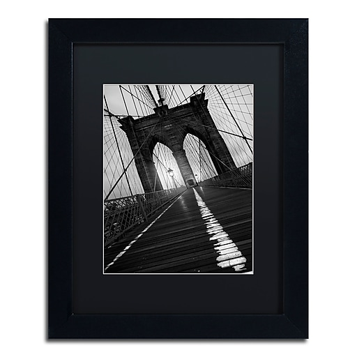 "Trademark Fine Art ''Brooklyn Bridge Study I'' by Moises Levy 11"" x 14"" Black Matted Black Frame (886511869912)"