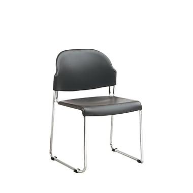 Work Smart STC Series Metal & Plastic Stacking Chair, Black