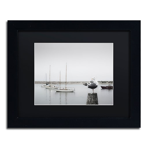 "Trademark Fine Art ''Four Boats & Seagull'' by Moises Levy 11"" x 14"" Black Matted Black Frame (886511879119)"