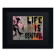 "Trademark Fine Art ''Life is Beautiful'' by Banksy  11"" x 14"" Black Matted Black Frame (886511879355)"