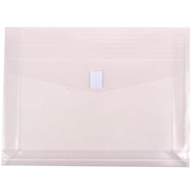 JAM Paper® Plastic Envelopes with VELCRO® Brand Closure, 2 Expansion, Letter Booklet, 9.75 x 13, Clear Poly, 12/pack (218V2CL)