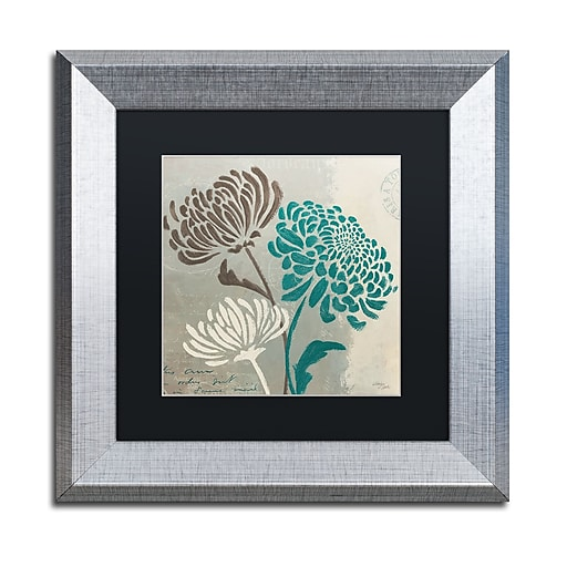 "Trademark Fine Art ''Chrysanthemums II'' by Wellington Studio 11"" x 11"" Black Matted Silver Frame (886511860506)"