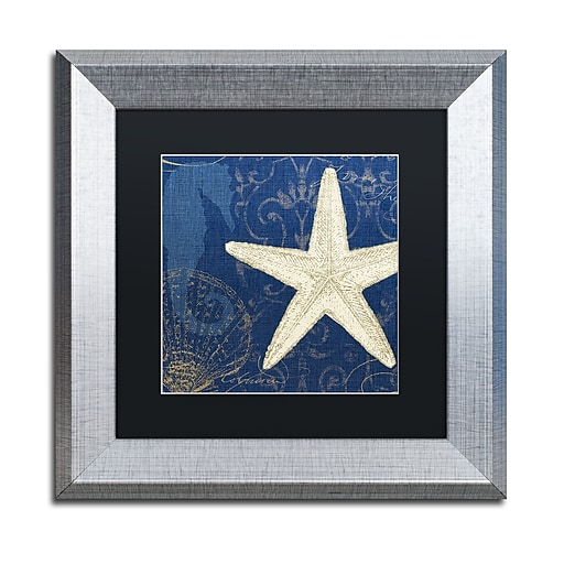 "Trademark Fine Art ''Coastal Moonlight I Teal'' by Pela Studio 11"" x 11"" Black Matted Silver Frame (886511860582)"