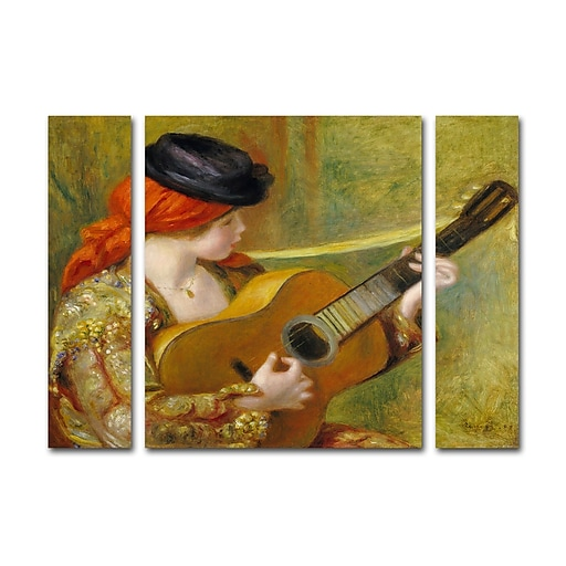 "Trademark Fine Art ''Young Woman with a Guitar'' by Pierre Renoir 24"" x 32"" Multi Panel Art Set (886511916470)"