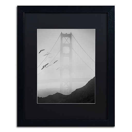 "Trademark Fine Art ''Golden Gate Pier and Birds I'' by Moises Levy 16"" x 20"" Black Matted Black Frame (886511875975)"