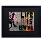 "Trademark Fine Art ''Life is Beautiful'' by Banksy  16"" x 20"" Black Matted Black Frame (886511879379)"