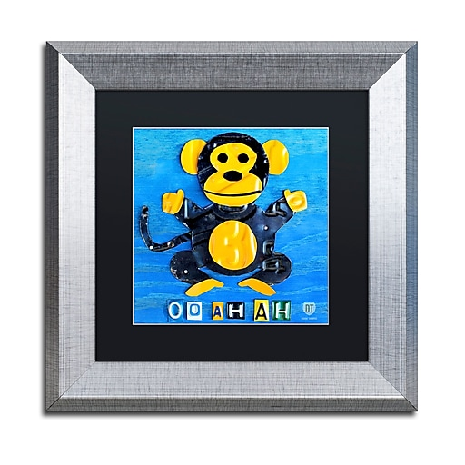 "Trademark Fine Art ''Oo Ah Ah the Monkey'' by Design Turnpike 11"" x 11"" Black Matted Silver Frame (886511906921)"