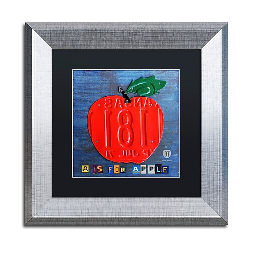 "Trademark Fine Art ''Apple'' by Design Turnpike 11"" x 11"" Black Matted Silver Frame (886511909809)"
