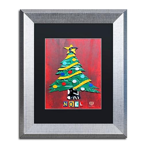 "Trademark Fine Art ''Noel Christmas Tree'' by Design Turnpike 11"" x 14"" Black Matted Silver Frame (886511907805)"