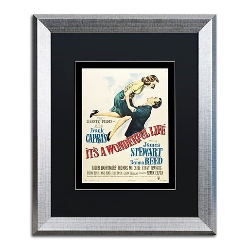 """Trademark Fine Art ''It's a Wonderful Life'' by Vintage Apple Collection 16"""" x 20"""" Black Matted Silver Frame (886511837645)"""