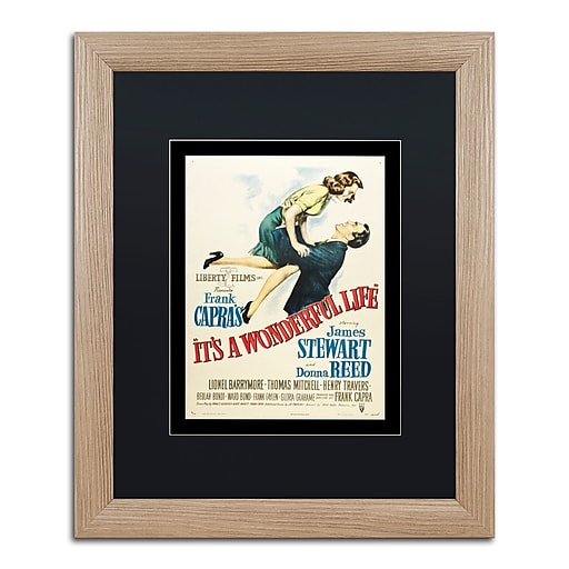 """Trademark Fine Art ''It's a Wonderful Life'' by Vintage Apple Collection 16"""" x 20"""" Black Matted Wood Frame (886511837683)"""