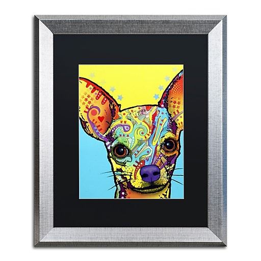 """Trademark Fine Art ''Chihuahua'' by Dean Russo 16"""" x 20"""" Black Matted Silver Frame (886511837720)"""