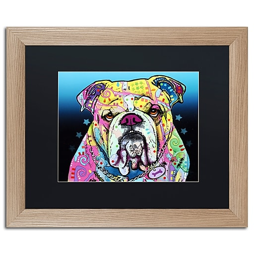 """Trademark Fine Art ''The Bulldog'' by Dean Russo 16"""" x 20"""" Black Matted Wood Frame (886511838000)"""