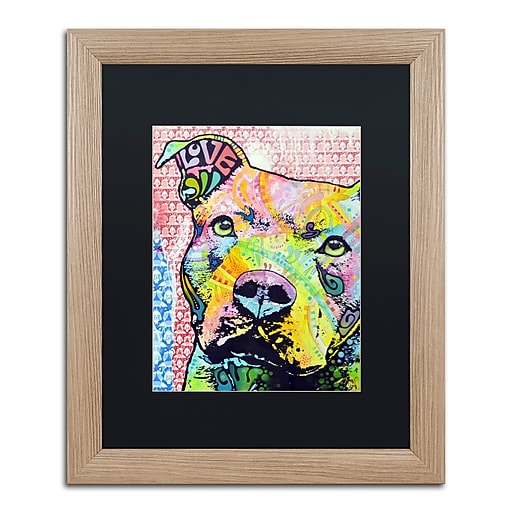 """Trademark Fine Art ''Thouthful Pittbull II'' by Dean Russo 16"""" x 20"""" Black Matted Wood Frame (886511838246)"""